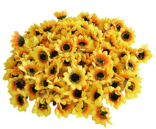 "Kinwell 100pcs Artificial Silk Yellow Sunflower Heads 1.8"" Fabric Floral For Home Decoration Wedding Decor, Bride Holding Flowers,Garden Craft Art Decor"