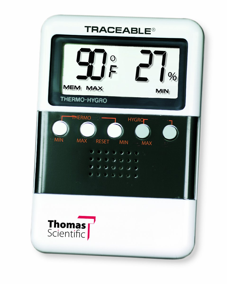 Thomas ABS Plastic Traceable Digital Humidity and Temperature Meter with 3/4'' High LCD Display, 3-7/8'' Length x 2-5/8'' Width x 5/8'' Thick