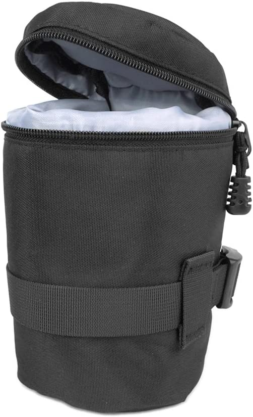 FoRapid Deluxe Weather-Resistant Padded Nylon Camera Lens Case Protective Lens Storage Bag Pouch Fit Lens 85mmx150mm DxH for Canon Nikon Olympus Fuji Pentax Panasonic Sony Leica Sigma Tamron etc