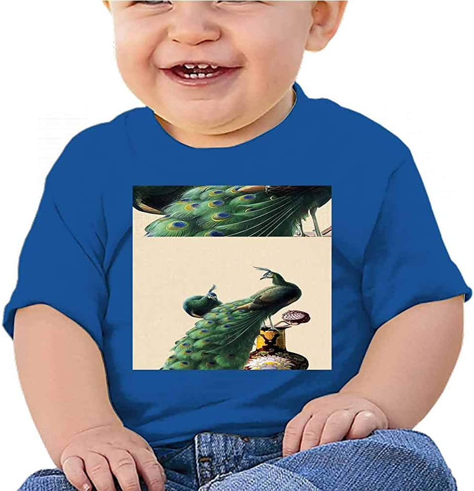 Official T-Shirt 7 TEE for Toddlers American Porch Blue Peacock Pattern
