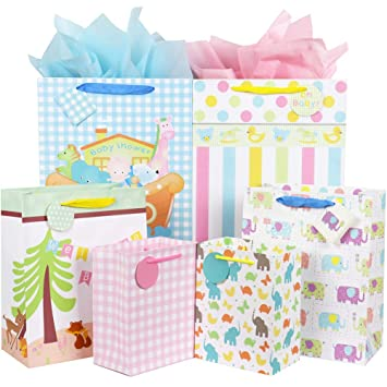 Fzopo Large Gift Bags Bulk With Handles 12 Assorted Paper For Baby Shower