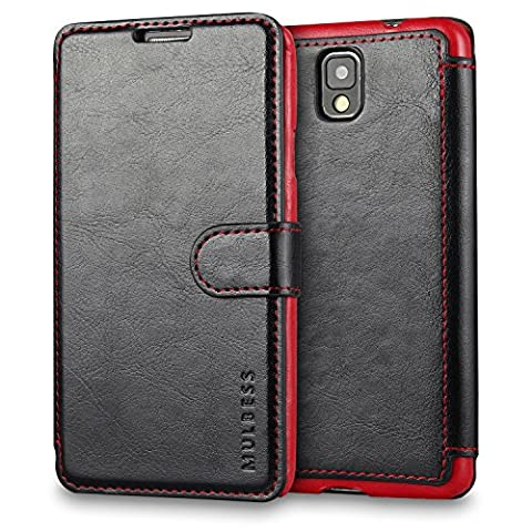 Galaxy Note 3 Case Wallet,Mulbess [Layered Dandy][Vintage Series][Black] - [Ultra Slim][Wallet Case] - Leather Flip Cover With Credit Card Slot for Samsung Galaxy Note 3 (Galaxy 3 Phone Flip Cases)