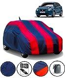 Fabtec Car Body Cover for Maruti Baleno (2015-2019) with Mirror Antenna Pocket Storage Bag (Red & Blue)