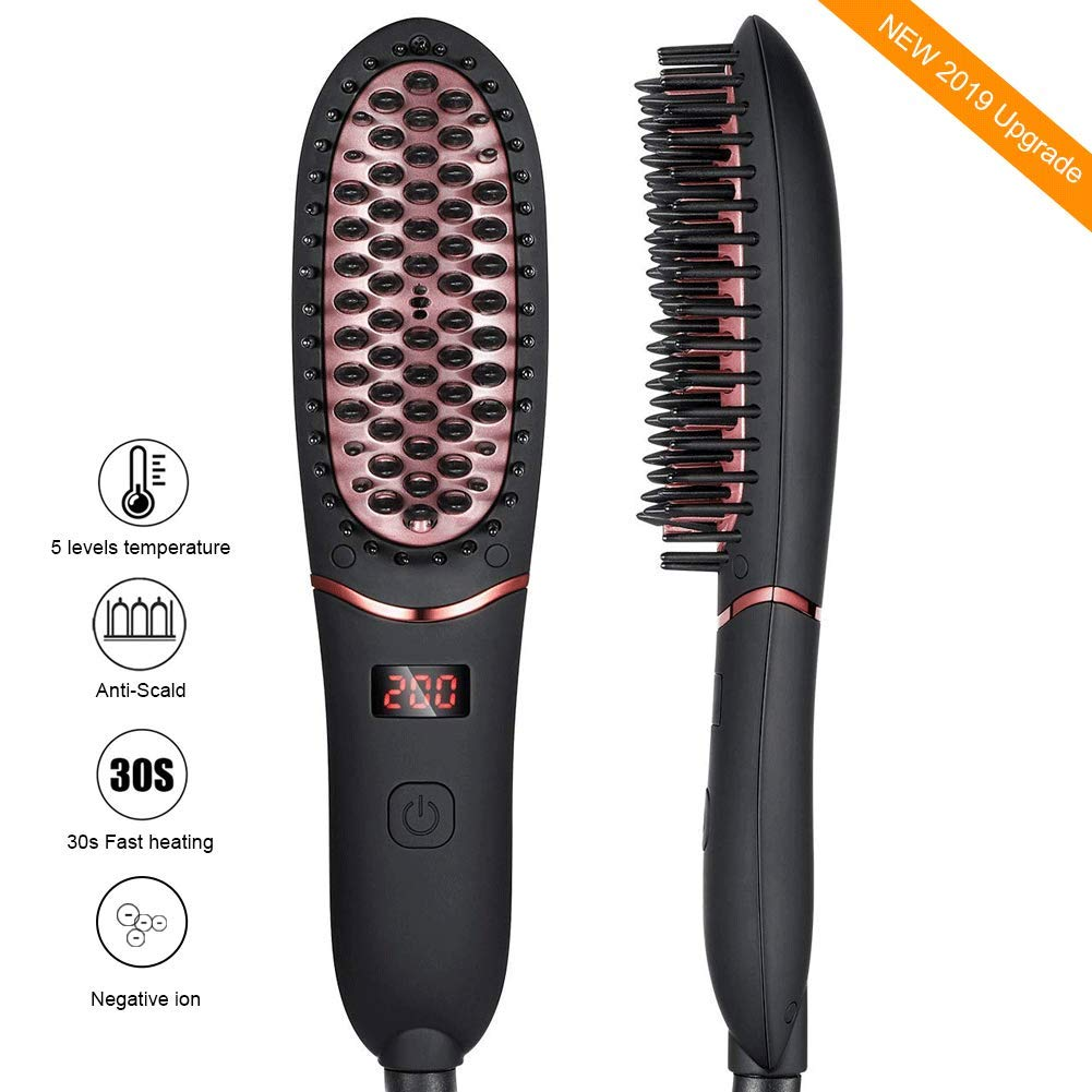 Hair Straightener Brush for Men Women,Portable Ionic Beard Straightener, Anti-Scald Hair Straightening Brush with Fast Heating Ceramic Heating Comb with LED Display for Home or Travel by Ralthy