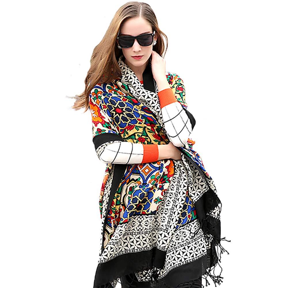 DANA XU 100% Pure Wool Women Winter Large Scarf Pashmina (Black) by DANA XU