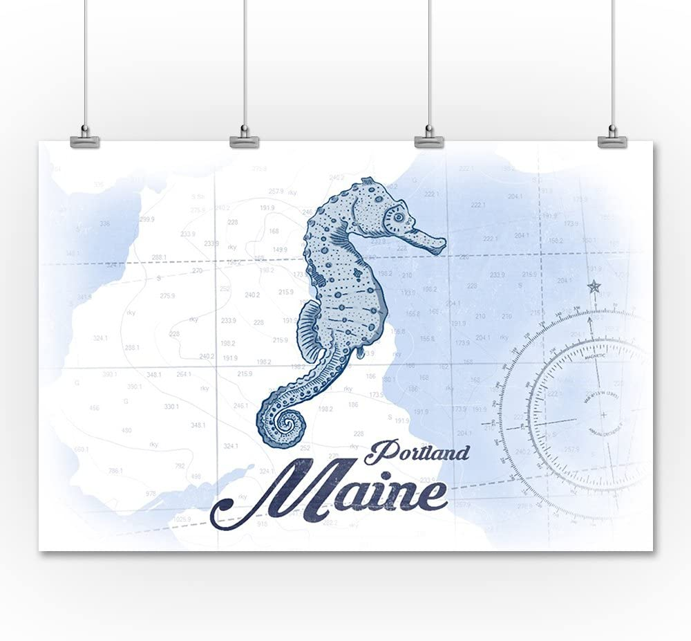 Portland Coastal Icon 36x54 Giclee Gallery Print, Wall Decor Travel Poster Seahorse Blue Maine