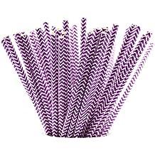 FiveSeasonStuff 100 Pack 100% Biodegradable Paper Drinking Straws for Weddings, Birthdays, Showers, Christenings, Engagements, Graduation, New Years (Vintage White and Purple Chevron Zig Zag)