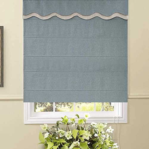 Artdix Roman Shades Blinds Window Shades – Blue 65 W x 72L Inches 1 Piece Thermal Solid Fabric Custom Made Roman Shades for Windows, Doors, Home, Kitchen, Living Room Including Valance