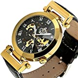 Carrie Hughes Luxury Mens Automatic Wrist Watch Steampunk Mechanical Skeleton Gold +Gift Box OKN003