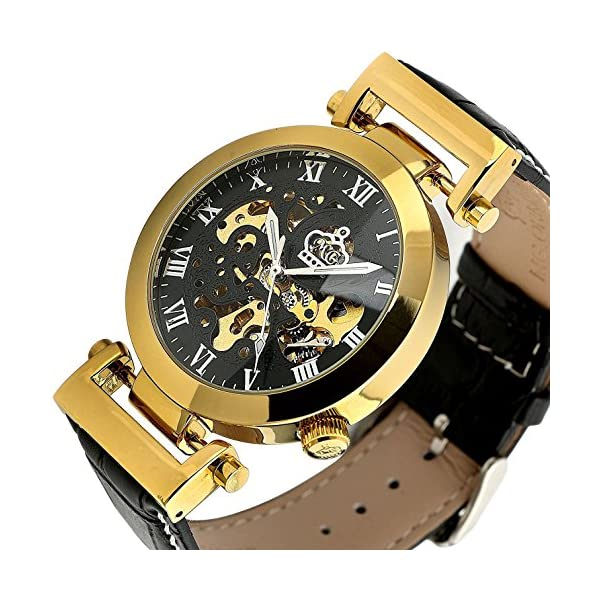 Carrie Hughes Men's Automatic Mechanical Stainless Steel Leather Watch 5