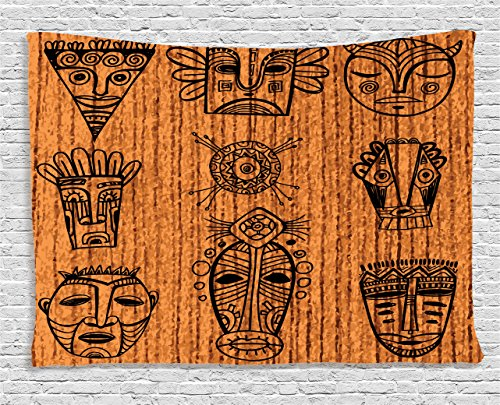 African Decor Tapestry by Ambesonne, Ritual and Ceremonial African Tribal Cultural Masks Spiritual Religious Art, Wall Hanging for Bedroom Living Room Dorm, 60 W X 40 L Inches, Cinnamon and Black