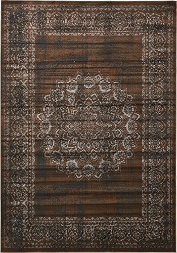 Unique Loom Imperial Collection Modern Traditional Vintage Distressed Chocolate Brown Area Rug (8' 0 x 11' 6) ()