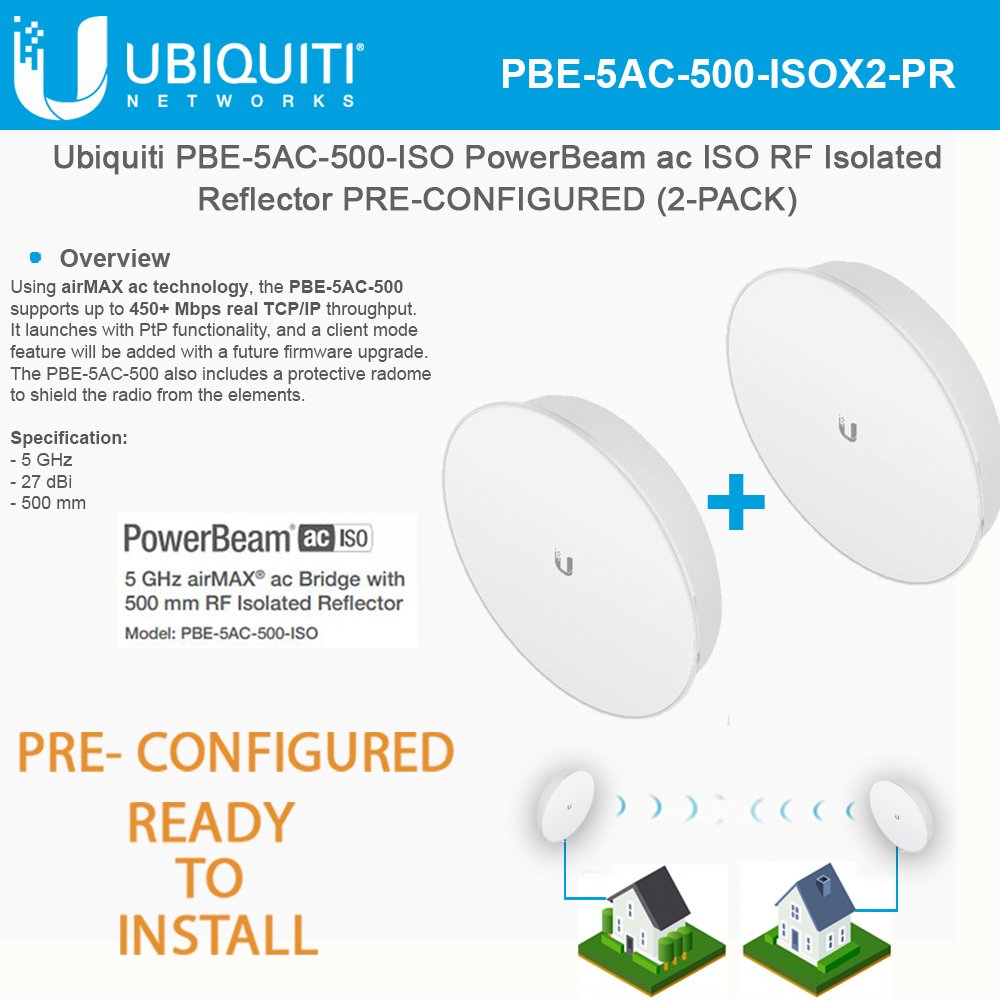 Ubiquiti PBE-5AC-500-ISO PowerBeam ISO 2-PACK PRE-CONFIGURED Isolated Reflector by Ubiquiti Networks
