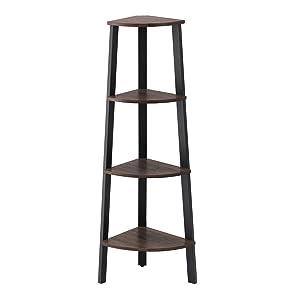 VASAGLE Industrial Corner Rack, 4-Tier Ladder Shaped Bookcase for Home Study, Free Standing Storage Shelves, Plant Flower Shelf, Rustic Dark Brown ULLS34BF