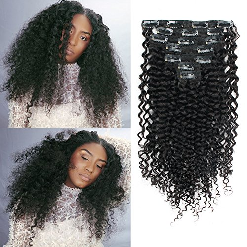 Beauty : Sassina Seamless Invisable Jerry Curly Human Hair Clip In Extensions Double Wefts For Fashion Black Women 7Pcs/lot 120Grams/set With 16 Clips JC 18 Inch