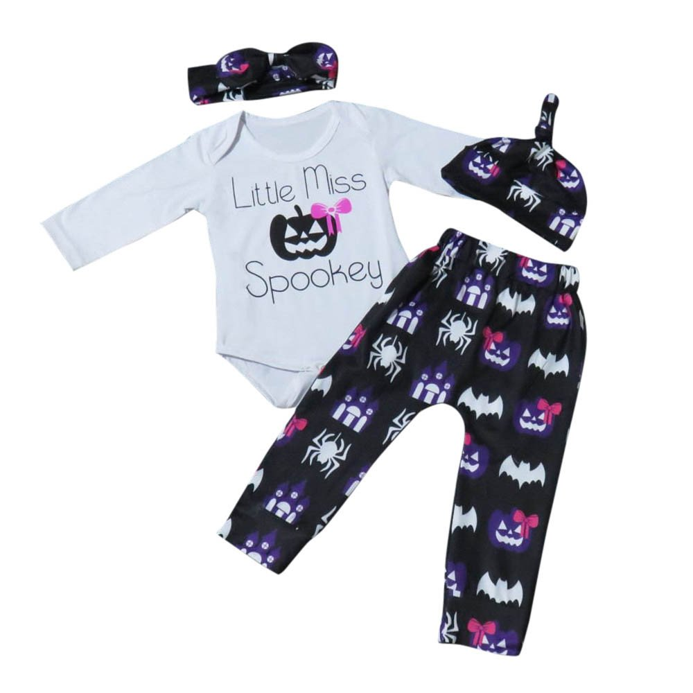 BHYDRY Newborn Infant Baby Girl Letter Romper Tops+Pants Halloween Outfits Clothes Cotton Blend Set Festival Gift