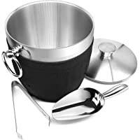 Fortune Candy Insulated Ice Bucket - Double Walled Stainless Steel Ice Bucket with Ice Tongs, Scoop, Lid, and Exclusive…