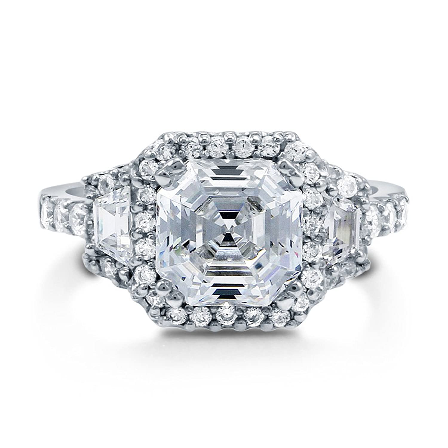 Amazon BERRICLE Rhodium Plated Sterling Silver Asscher Cut Cubic Zirconia CZ Halo Art Deco Engagement Ring Jewelry