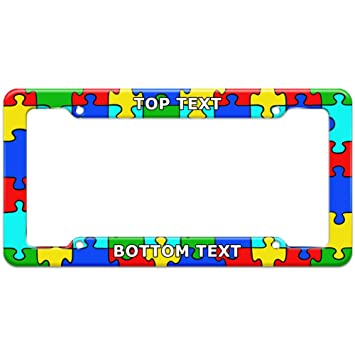 img buy Graphics and More Personalized Custom Autism Awareness Puzzle Piece Pattern License Plate Frame