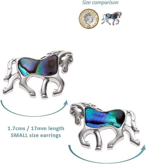 "BellaMira Horse Equestrian Abalone Paua Shell  Silver Pendant Necklace 18/"" Chain"