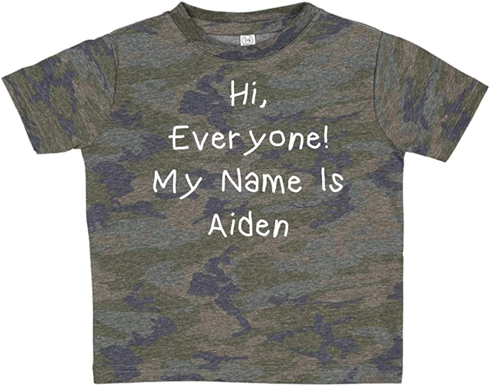 Everyone Mashed Clothing Hi Personalized Name Toddler//Kids Short Sleeve T-Shirt My Name is Aiden