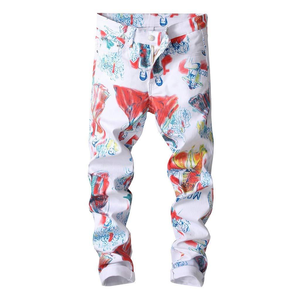 Men 3D Stretch Digital Print Tight Zipper Cargo Long Pant Chain Casual Slim Trouser