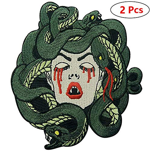 Bleeding Medusa Embroidered Badge Iron on Sew on Patches for Clothes Jackets Costume T Shirt Backpack (2 -