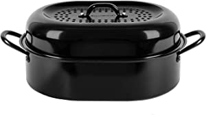 "Granitestone 15"" Nonstick Roaster, Covered Oval Aluminum Roasting Pan for Turkey, Poultry, Meats, Baking & More – Dishwasher Safe, black, medium"