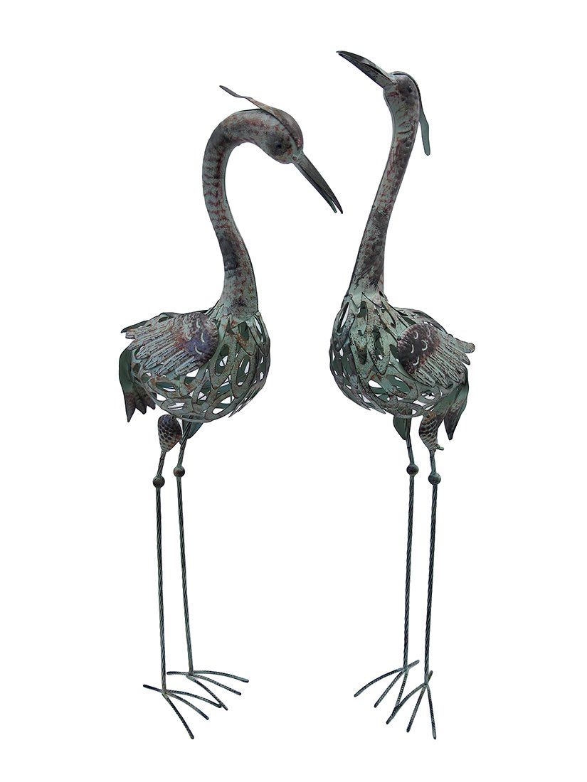 Amazon.com : Things2die4 Metal Outdoor Statues Pair Of Metal Crane Statues  Lawn And Garden Decor 11 X 41 X 4.5 Inches Multicolored Model # 50401 :  Outdoor ...