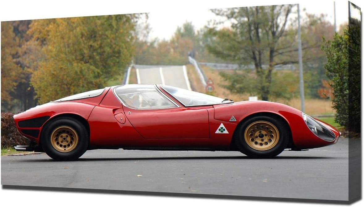 Lilarama USA 1967 Alfa Romeo Tipo 33 Stradale Prototipo V4 - Canvas Art Print - Wall Art - Canvas Wrap