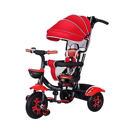 Triciclo de niños Rueda de Caucho para Carro de bebé de 3 Ruedas para 1-
