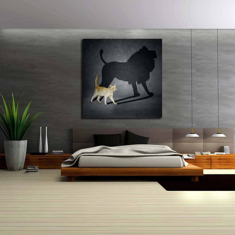 Pitaara Box Cat with Lion On Shadow On Lion The Wall Unframed Canvas Painting 40 x 40inch 3a7c7e