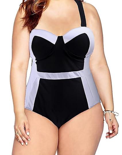 fff1c333b7dc1 HDE Women s Retro One Piece Swimsuit Plus Size Padded Halter Vintage  Swimsuit  Amazon.ca  Clothing   Accessories