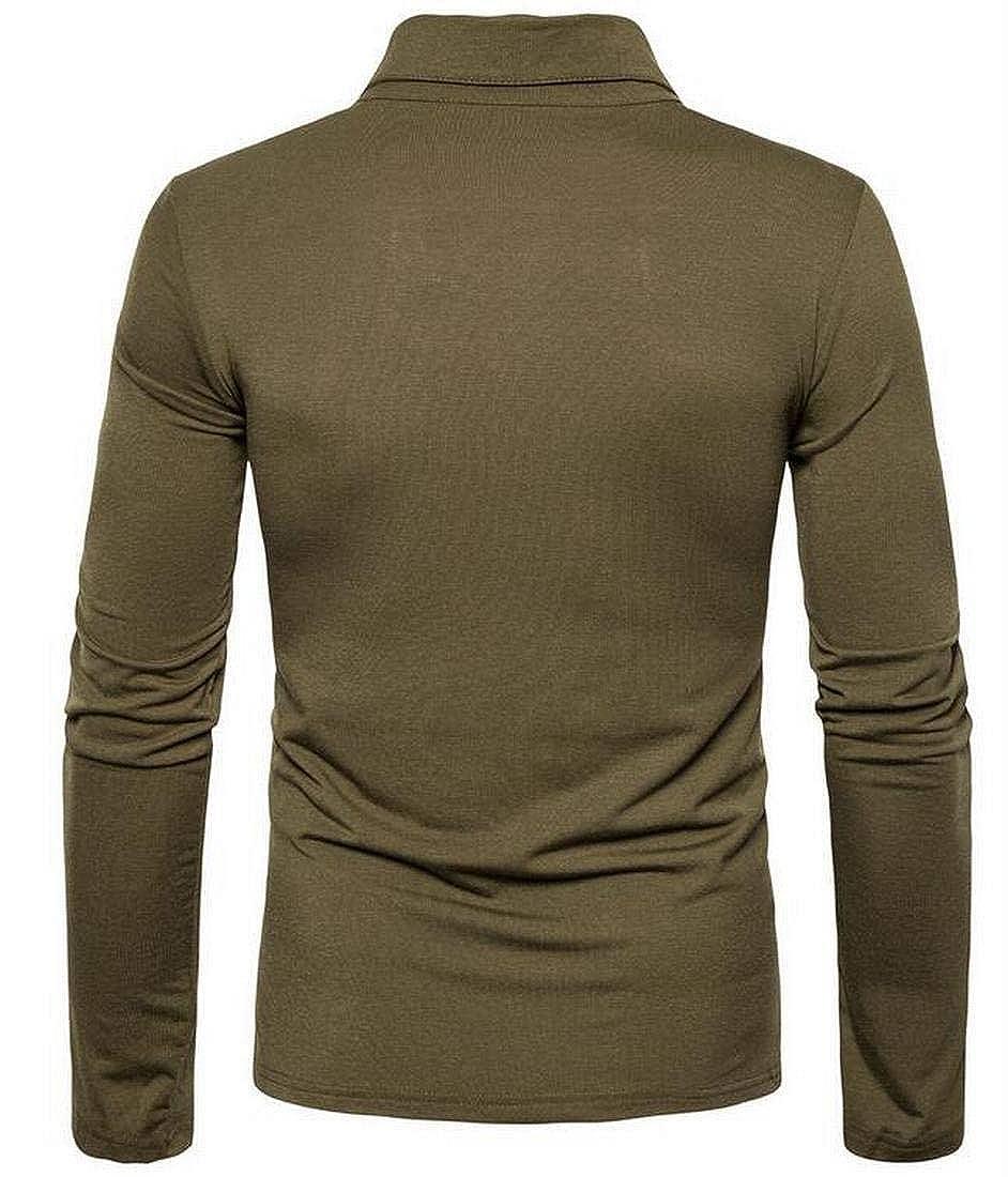 GRMO Men Casual Patchwork Check Placket Long Sleeve Polo Shirt Top