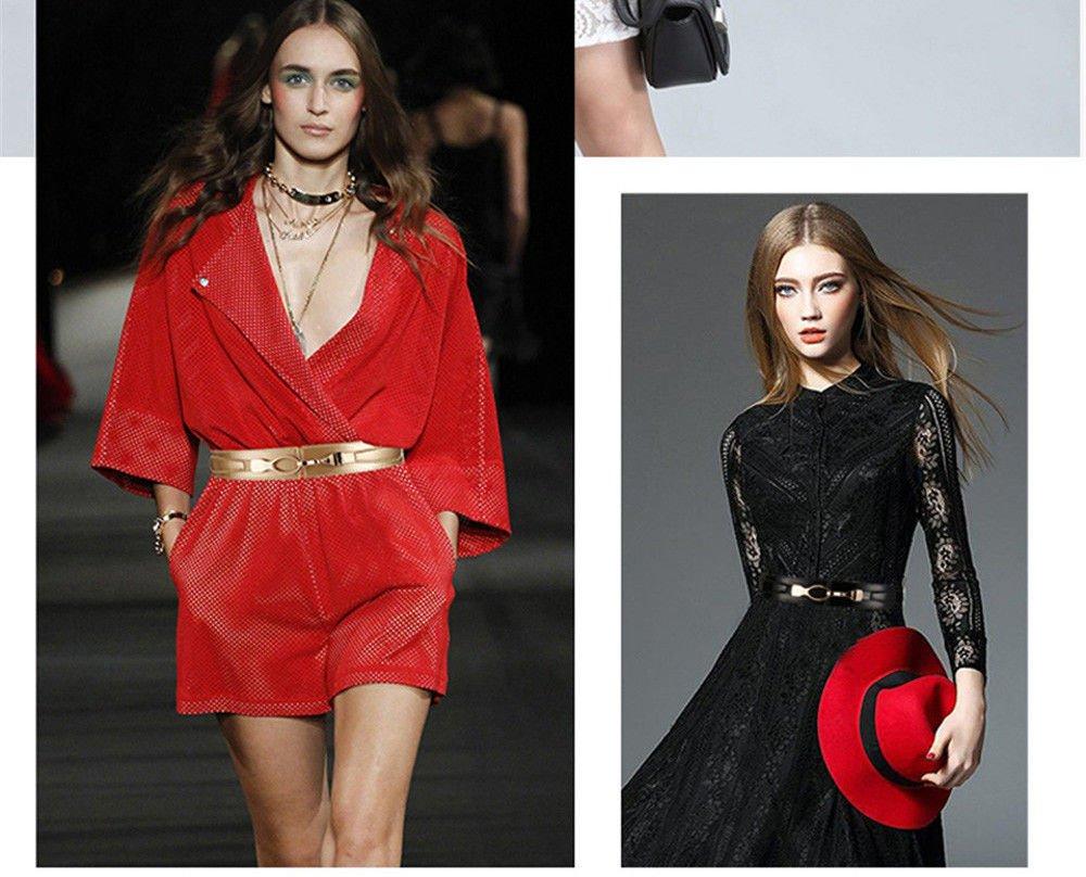LONFENN Le Donne con La Moda Femminile Tutto-Fiammifero Elastico in Vita Donne Cappotto Cappotto Cintura Larga in Pelle Decorativo Cintura Elastico Modelli Femminili Rosa