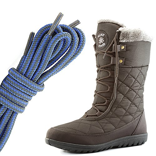 DailyShoes Womens Comfort Round Toe Mid Calf Flat Ankle High Eskimo Winter Fur Snow Boots, Royal Blue Dark Grey Brown