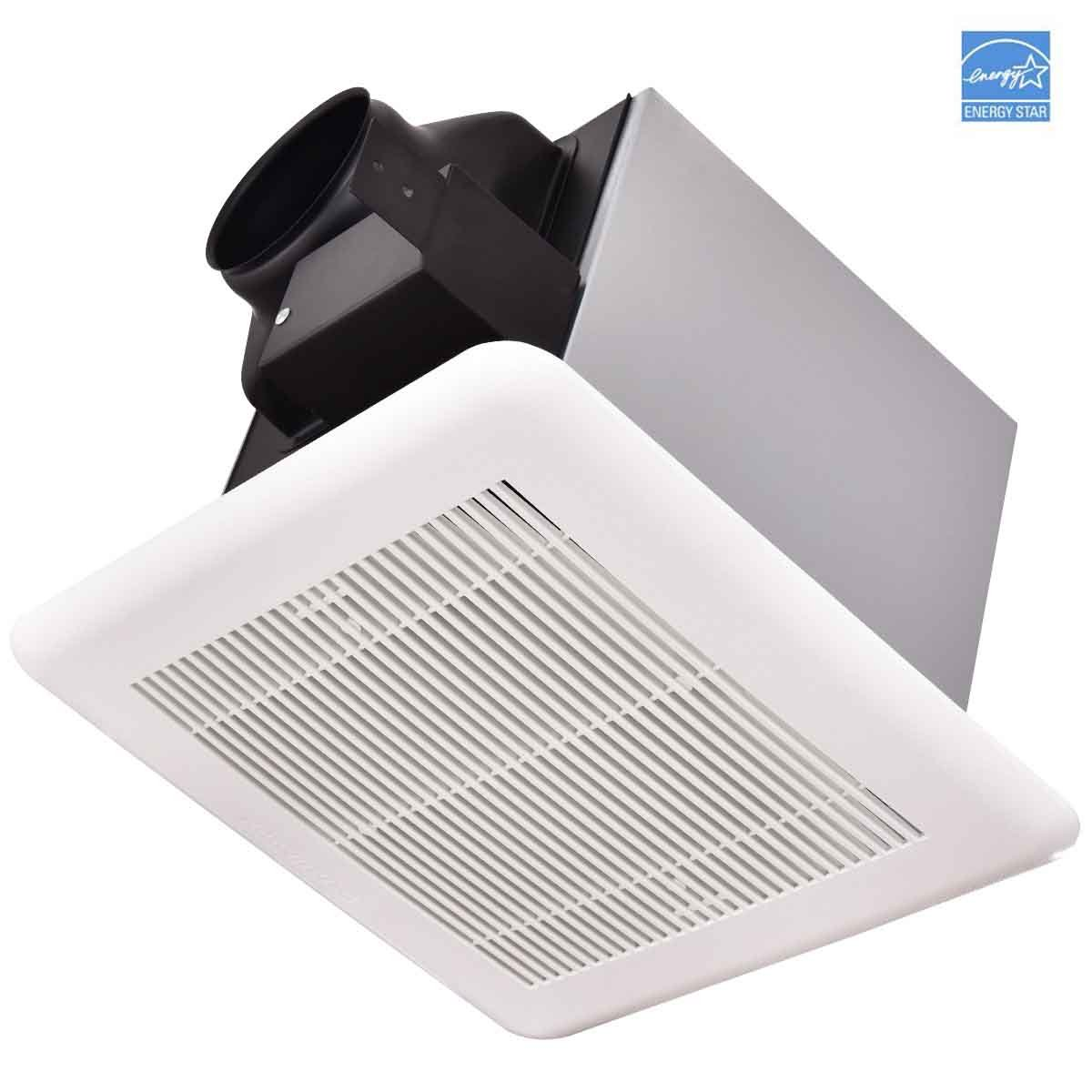 80 CFM Exhaust Fan, GentleShower Ceiling Mounted Ventilation Fan for Bathroom, 0.7 Sones, Classic White