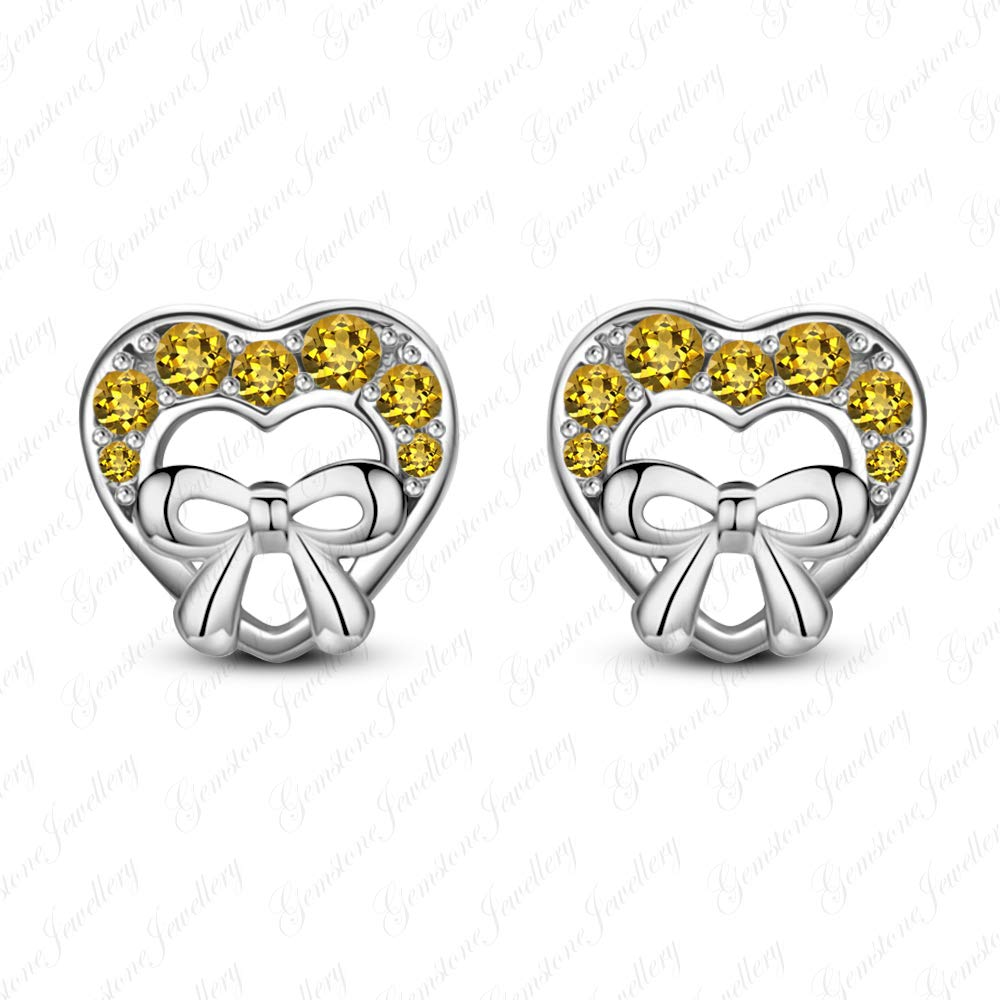 Gemstone Jewellery Lovely Heart Minnie Mouse Earrings With Round Cut Citrine 14k White Gold Finishing