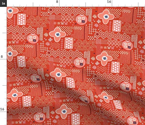 (Spoonflower red fauxboro Fabric - Embroidery Geometric Japanese Thread Yarn Stitch Collage Abstract by Pennycandy Printed on Organic Cotton Knit Ultra Fabric by The Yard)