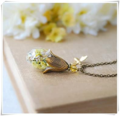 Real flower necklace gold honey bee dried yellow flower jewelry real flower necklace gold honey bee dried yellow flower jewelry mightylinksfo Choice Image