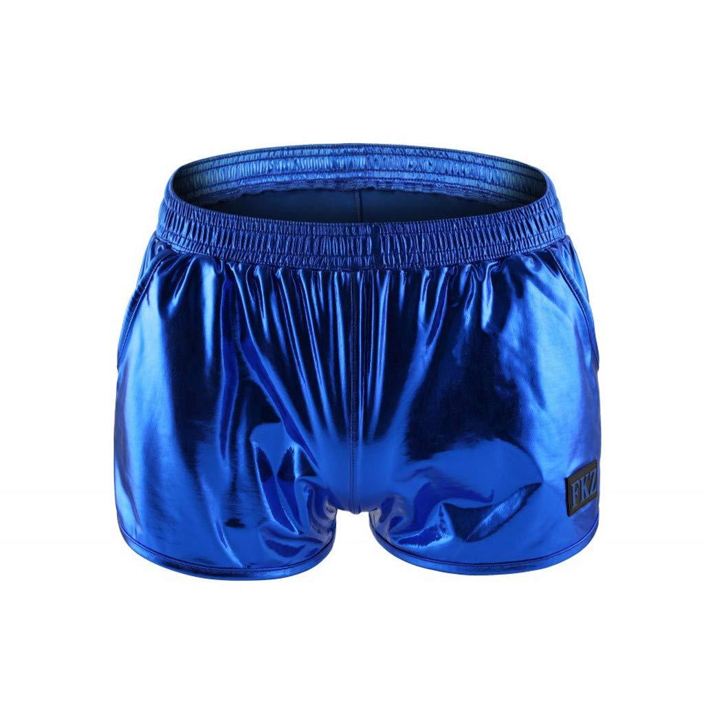 Overdose Shorts de Cuero Brillante Atractiva del Cortocircuito de Las Hombres Flojas del Bolsillo el/ástico de la Cintura del Partido Hombre Brillante Club de Verano Pantalones Cortos