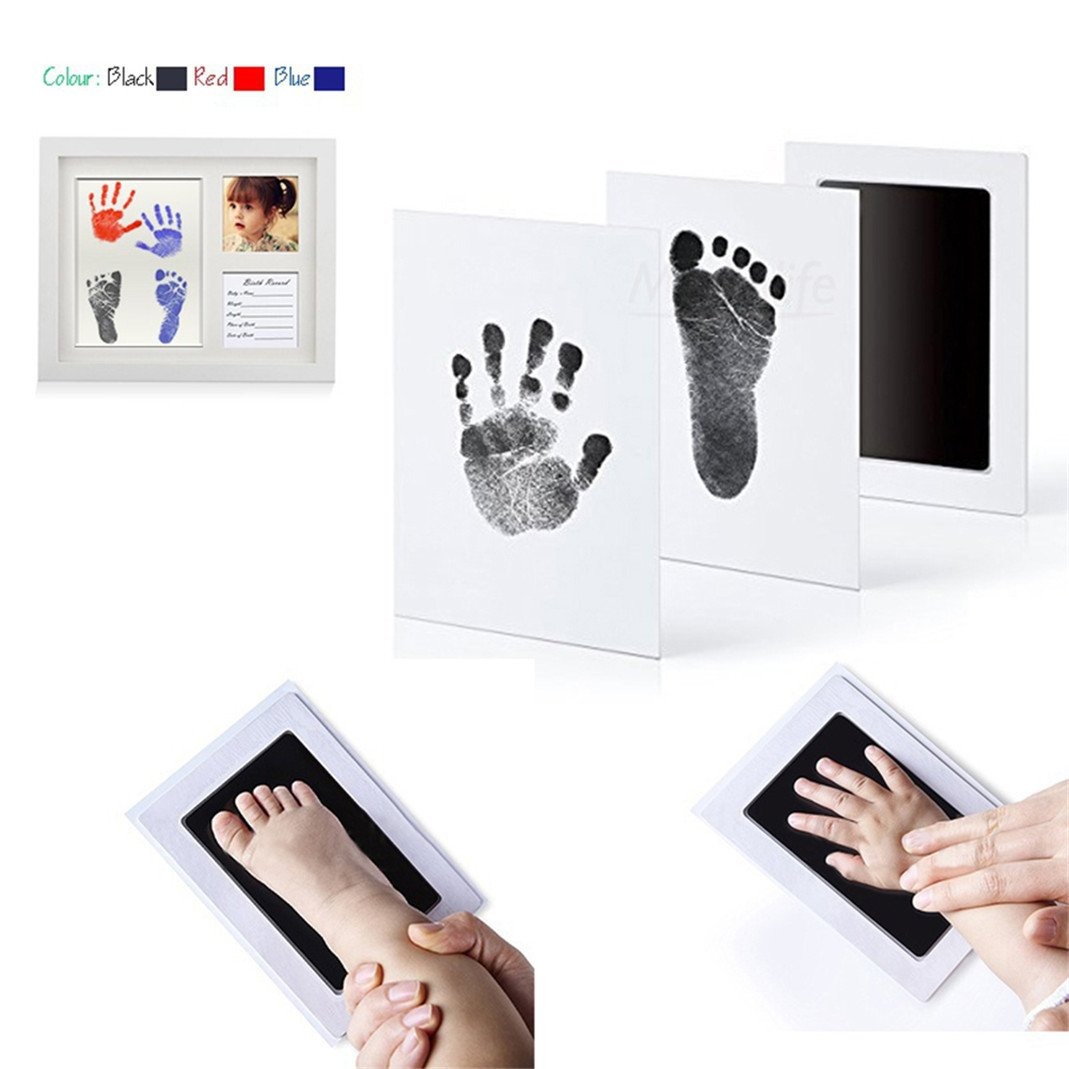 Baby Inkless Footprint Handprint Ink Pad Newborn Babyprints Safe Non-Toxic Reusable Clean Touch Inkpads Toddlers Shower Gift for Early Childhood DIY Keepsakes Photo Frame DIY Kit (Black) Brussels08