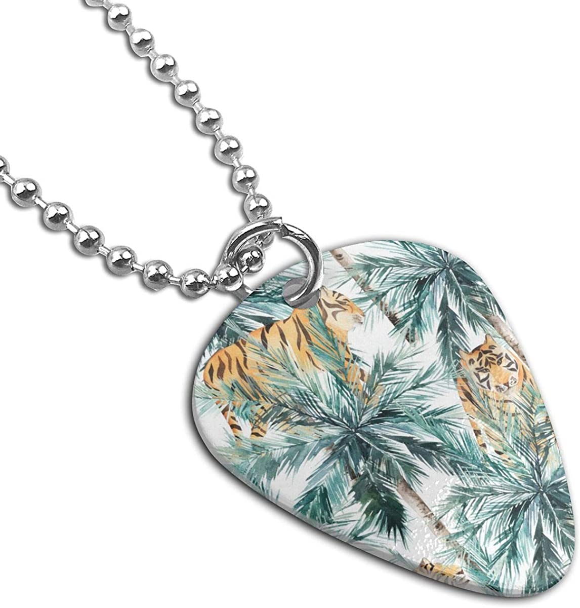 Palm Trees And Tiger Custom Guitar Pick Pendant Necklace Keychain