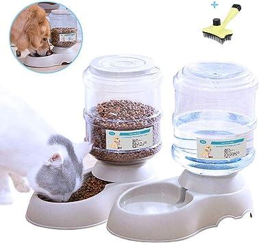 XIAPIA - Dispensador de Agua y alimentador automático para Perros, Gatos, Mascotas, con Cepillo para Regalo, 3,8 L x 2 Piezas, Certificado por la FDA: Amazon.es: Productos para mascotas