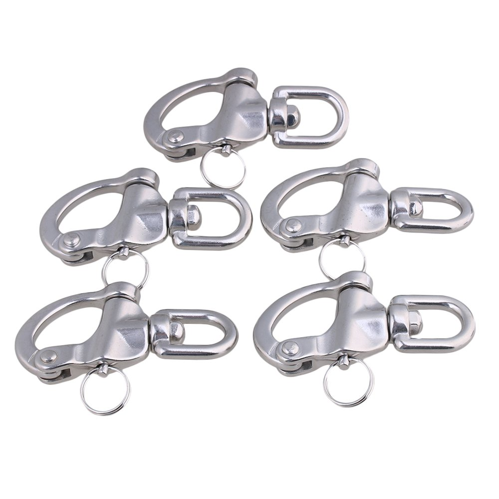 Yibuy 5 x Medium 304 Stainless Steel Snap Shackle Quick Release Swivel Bail Rigging
