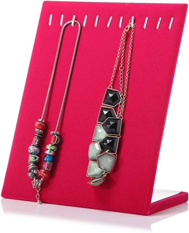 Velvet Necklace Chain Bracelet Jewelry Tray Organizer Holder Shop Display Organizer Rose Red