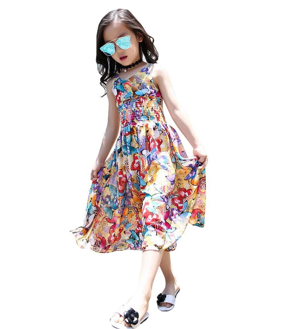 Dr.Sosmonki Big Girls Jumpsuit Summer Casual Bohemian Floral Sleeveless Chiffon Wide Leg Pants by Dr.Sosmonki