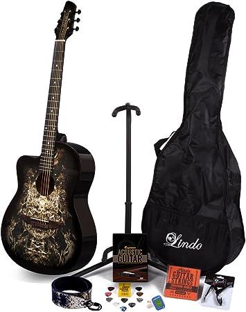 Lindo 933 C para zurdos extranjero Negro Guitarra Acústica y completo Pack de accesorios (funda, soporte, cuerdas, correa, 10 púas, DVD, afinador de clip): Amazon.es: Instrumentos musicales
