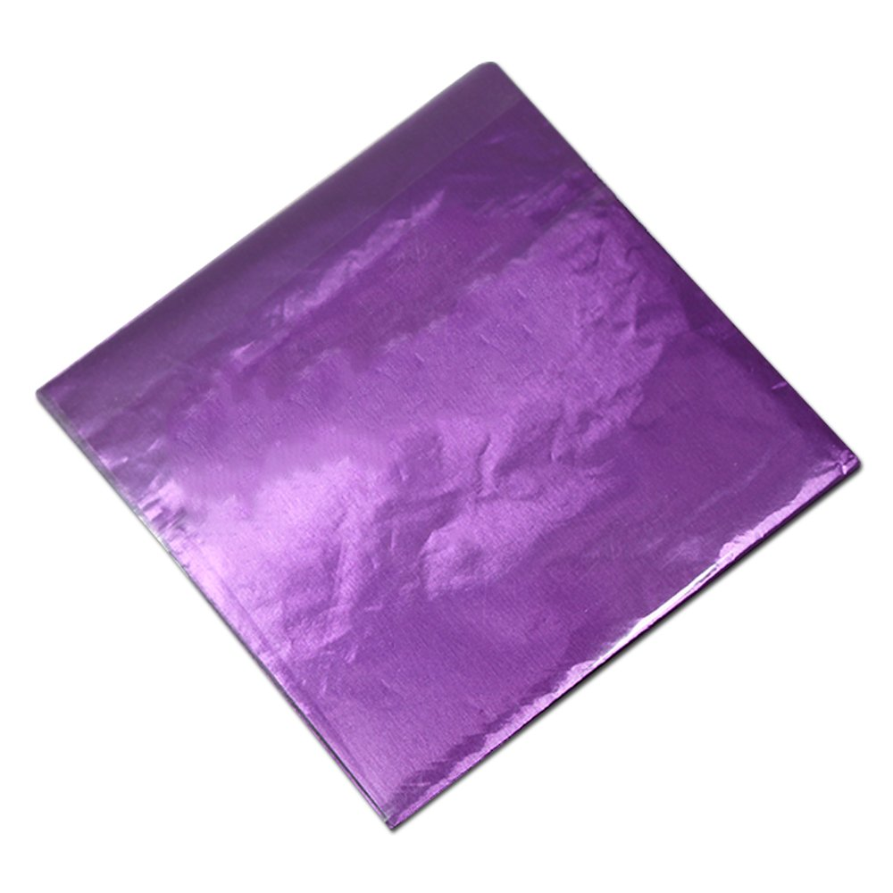 10 Color 8x8 cm Tin Foil Packing Material Paper for Candy Sweets Chocolate Mylar Foil Party Favor Wedding Wrapping Packaging for Kids Children Multiply Usage Sugar Flat Wraps (8000 pcs, Purple)