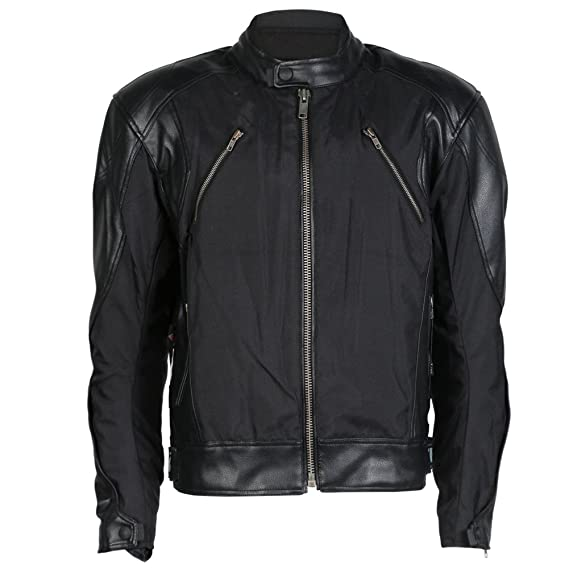 Mens Textile   Leather Motorcycle Motorbike Jacket With Protection ... 449aab491